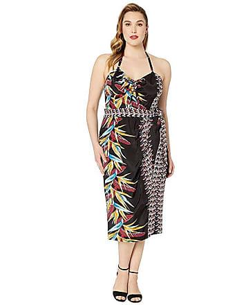 Unique Vintage Plus Size Kamehameha Sarong Dress (Black/Multicolor Floral) Womens Dress