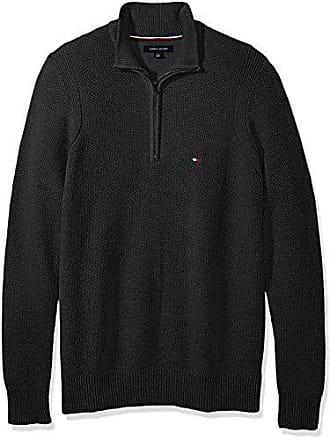 Tommy Hilfiger Mens Big and Tall 1/4 Zip Pullover Sweater, Charcoal Grey Heather, BG-4XL