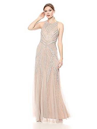 Adrianna Papell Womens Beaded Halter Mermaid Long Dress, Silver/Nude, 6
