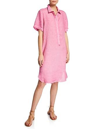 120% Lino Short-Sleeve Linen Pocket Shirtdress
