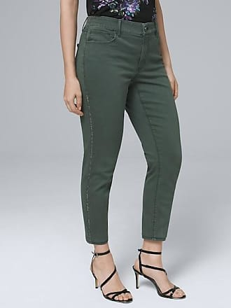 White House Black Market Womens Curvy-Fit Mid-Rise Embellished-Stripe Crop Jeans by White House Black Market, Cool Olive, Size 4 - Regular