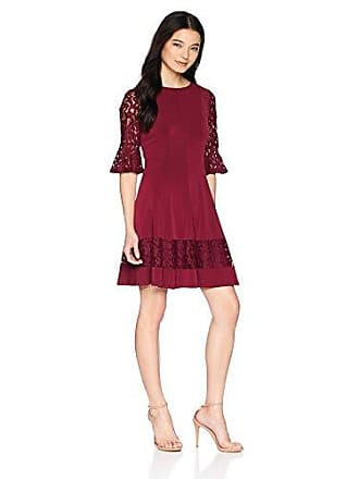 07896cf74cbc Jessica Howard Womens Petite Bell Sleeve Fit and Flare Dress, Wine, 10P