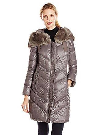 fbc549c96d5a T Tahari Womens Austin Down Coat with Faux Fur Hood, Pewter, Small