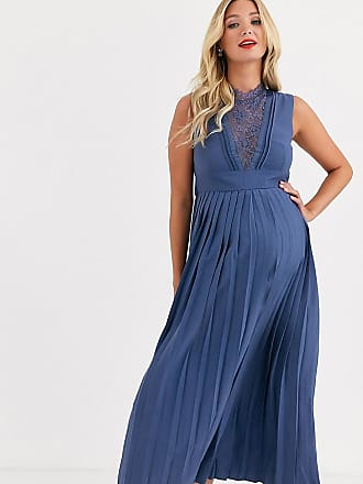 Little Mistress Maternity lace detail midi dress with pleated skirt in lavender grey