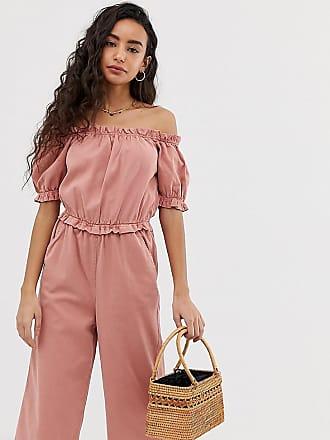 Miss Selfridge bardot jumpsuit with puff sleeves in pink
