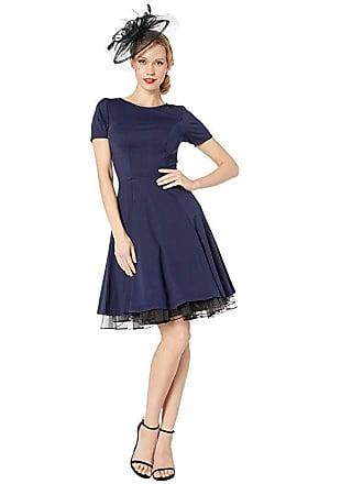 Unique Vintage Short Sleeve Margot Fit Flare Dress (Navy Blue) Womens Dress