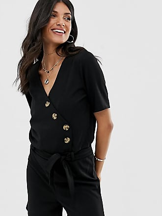 Y.A.S. Tall Bahia spotted button down playsuit-Black