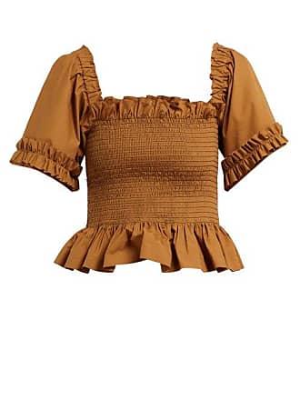 f31c3acd7db24 MOLLY GODDARD Sydney Ruffle Trimmed Smocked Cotton Top - Womens - Brown
