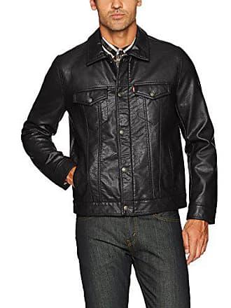 Levi's Mens Vintage Pebbled Cow Faux Leather Classic Trucker Jacket, Black, Large