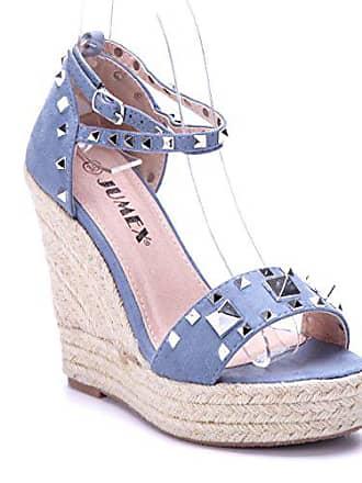 Schuhtempel24 Damen Schuhe Keilsandaletten Sandalen Sandaletten blau  Keilabsatz Nieten 12 cm High Heels c60b8df0dc