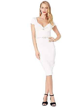 Unique Vintage 1950s Sweetheart Stretch Knit Dianne Wiggle Dress (Ivory) Womens Dress