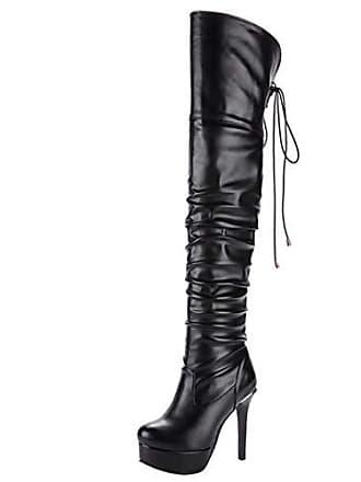 35da3c74d58445 Aiyoumei Damen Stiletto Overknee Stiefel mit Plateau und Schnürung Winter Stiefel  Schuhe
