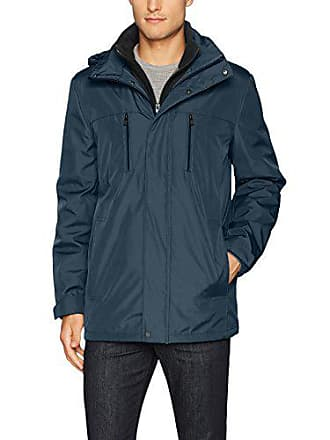 Kenneth Cole Reaction Mens Bonded Midweight Jacket with Fleece Zip Bib, Midnight, XX-Large