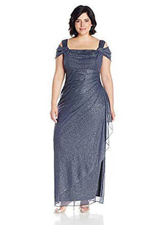 ed7cdac0119 Alex Evenings Womens Plus Size Long Cold Shoulder Dress
