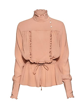 Stella Jean High Neck Ruffled Trim Waist Tie Blouse Nude