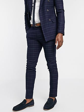 Topman suit trousers in navy check