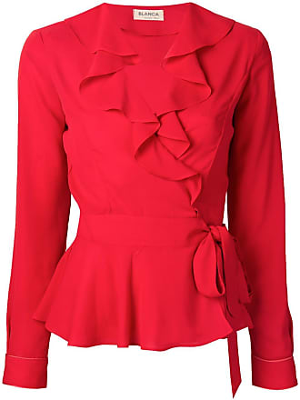 Blanca Blusa com acabamento de babado - Vermelho