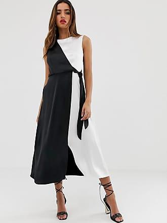Closet wrap over tie side pencil dress in contrast mono - Multi
