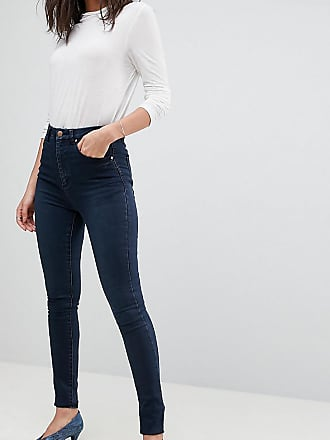 Asos Tall ASOS DESIGN Tall Sculpt me high rise premium jeans in dark wash blue - Blue