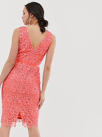 ec21447905dc Paper Dolls Tall v neck lace pencil dress in coral - Orange