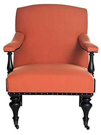 Safavieh Mercer Collection Devona Orange and Black with Brass Nailheads Arm Chair