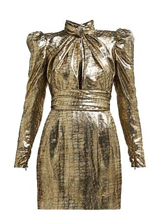c49c9a03e252 Dundas Puffed Sleeve Silk Blend Lamé Mini Dress - Womens - Bronze
