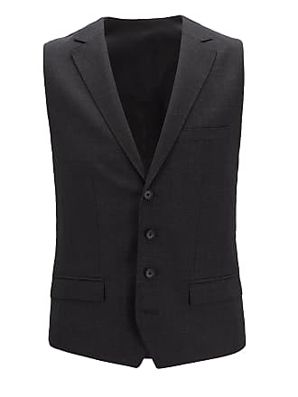 BOSS Slim-fit waistcoat in micro-pattern virgin wool