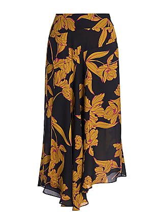 A.L.C. Lev Silk Floral Asymmetric Midi Skirt Black
