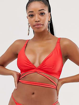 Wolf & Whistle Esclusiva Wolf & Whistle Coppe grandi Eco - Top bikini a triangolo con spallina avvolgente rosso, coppa D-F