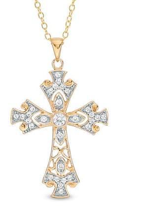 Zales 1/3 CT. T.w. Diamond Ornate Cross Pendant in 14K Gold