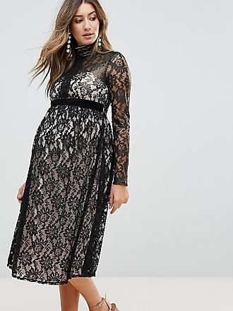 d8e066d20975d Little Mistress Maternity Allover Cutwork Lace Midi Dress - Black