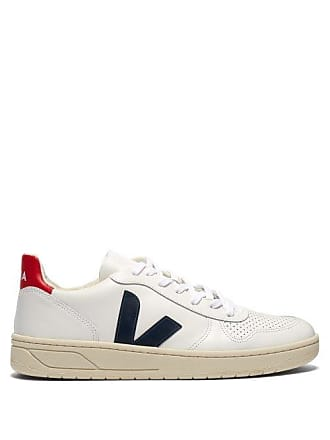 Veja V 10 Low Top Leather Trainers - Mens - White Multi