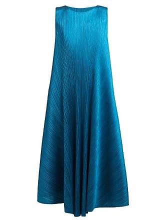 Pleats Please Issey Miyake Pleated Trapeze Cut Midi Dress - Womens - Mid Blue