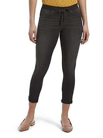 Hue Womens Sweatshirt Denim Cuffed Capri Leggings, Black, M