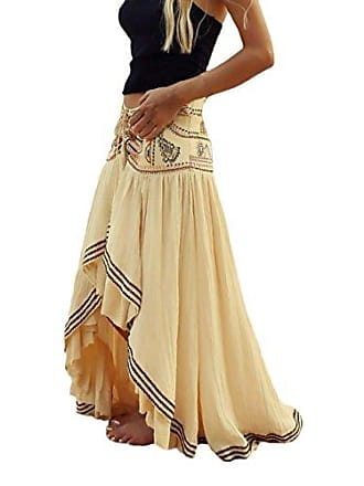 204a19bd3c2898 Laisla Fashion Maxirock Wickelrock Röcke High Waist Sommer Strand Langer  Rock Elegant Vintage Chic Ethno Style