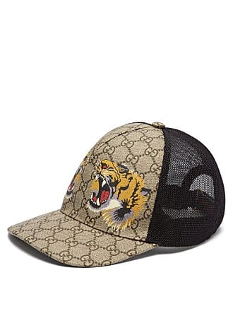 f22e0f8b2b2 Gucci Casquette résille à motifs tigre et Suprême GG