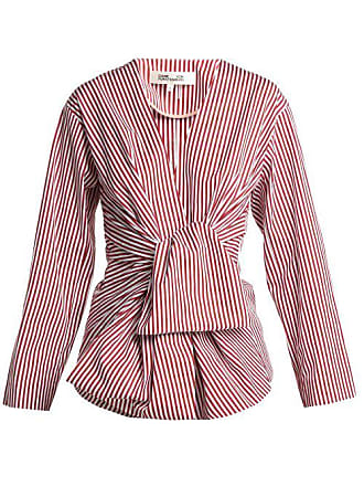 29a328c7c57f8b Diane Von Fürstenberg Striped Waist Tie Cotton Blouse - Womens - Red White
