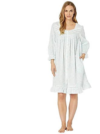 fd28c32a47 Eileen West Cotton Lawn Short Button Front Coat (White Ground Scroll) Womens  Robe