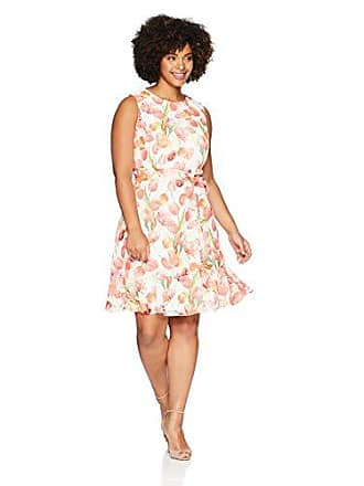 cb2382ee552 Jessica Howard Womens Plus Size Sleeveless Fit and Flare Dress with Tie  Sash