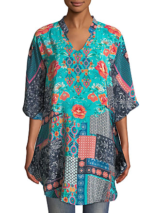 fb7679e897b2d7 Tolani Belle V-Neck 3 4-Sleeve Mixed-Print Silk Tunic