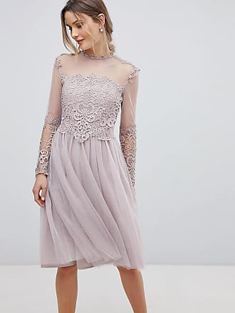 247a599c58866 Little Mistress high neck long sleeve skater dress with lace detail