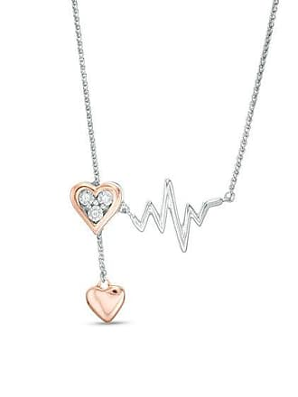 Zales Diamond Accent Heart and Heartbeat Lariat Necklace in Sterling Silver and 10K Rose Gold - 26