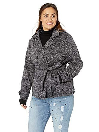 Yoki Womens Plus Size Double Breast Fleece Jacket, Black Space DYE, 3X