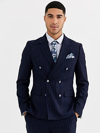 Gianni Feraud Skinny Fit Wool Blend Double Breasted Pinstripe Suit Jacket-Navy