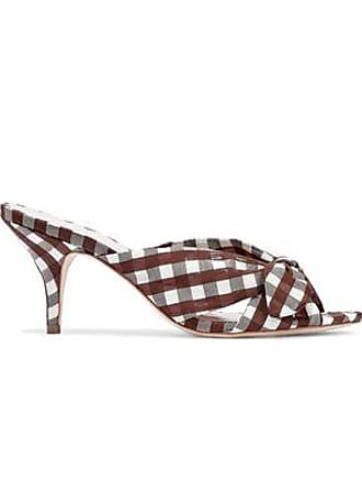 Loeffler Randall Loeffler Randall Woman Knotted Gingham Organza Mules Brown Size 10.5