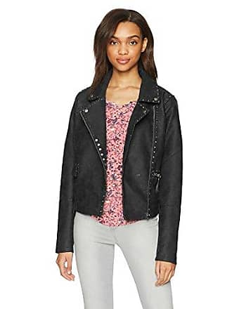 William Rast Womens Audacious Alexa Stud Moto Jacket, Jet Black, XXL