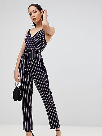 f6728d9e092 Asos Tall ASOS DESIGN Tall wrap jumpsuit with self belt in navy stripe