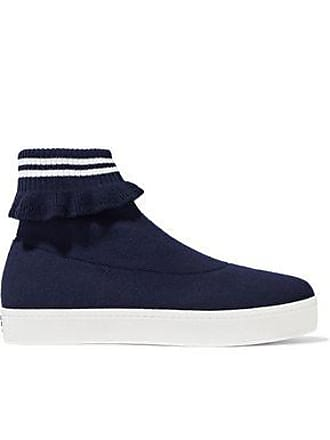 Opening Ceremony Opening Ceremony Woman Ruffle-trimmed Stretch-knit Platform High-top Sneakers Navy Size 36
