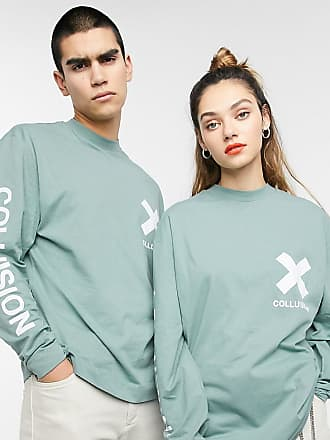 Collusion Unisex long sleeve logo t-shirt in green