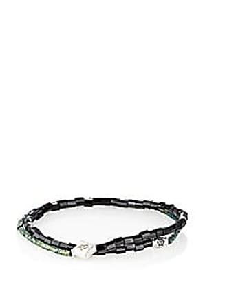 Luis Morais Mens Beaded Double Wrap Bracelet Green